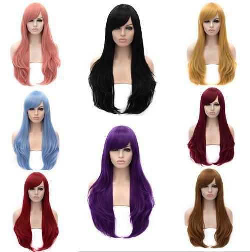 New hot 70cm long wavy black brown16colors women synthetic hair wig,korean kanekalon harajuku african american lady wigs cosplay