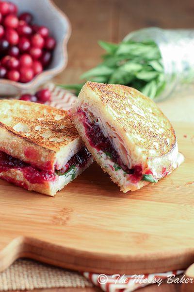 Turkey & Cranberry Panini w- Tarragon Goat Cheese Aioli {www.themessybakerblog.com}