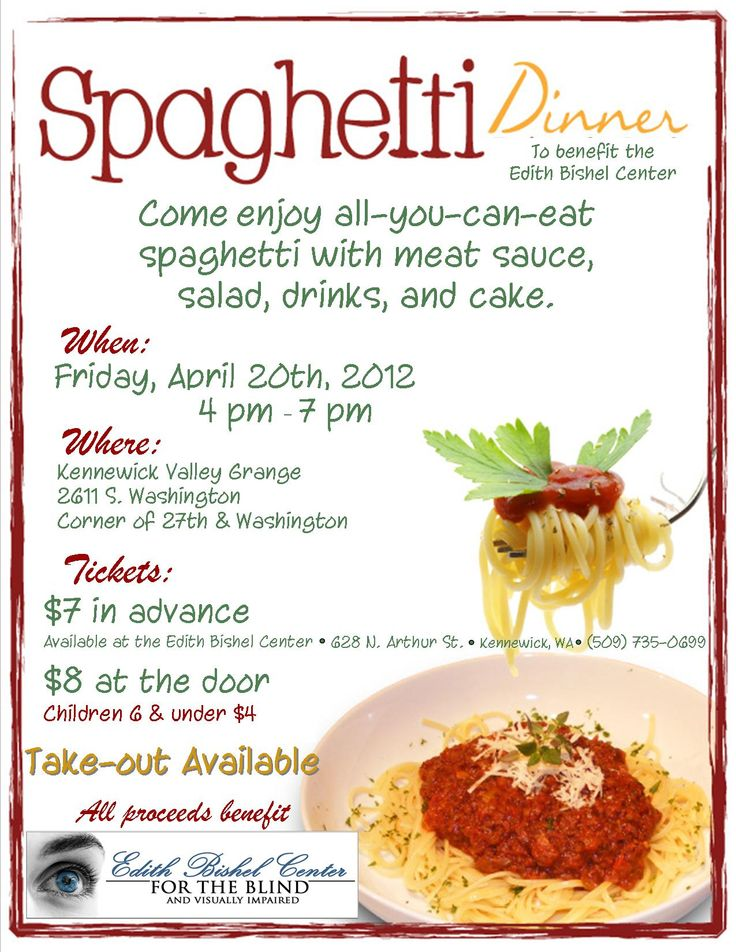 Really like this flyer spaghetti dinner fundraiser for Difference between dinner supper