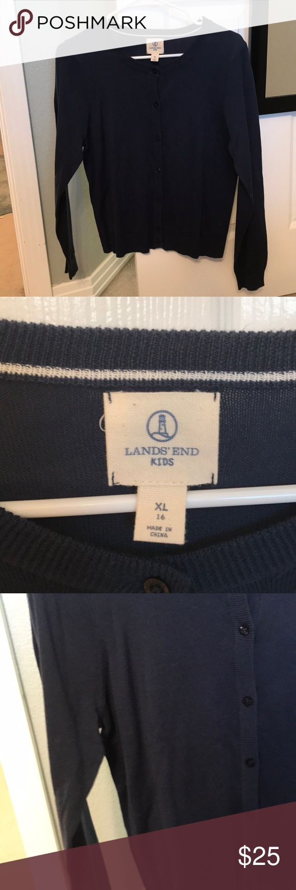 Lands end button down navy sweater Navy blue lands end kids/girls size 16 sweater! Only worn 1 time, really good condition. No stains, tears, rips or holes. Very nice sweater! Lands' End Sweaters