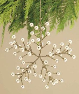 Wire and Pearl Snowflake Ornament