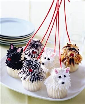 Dog Walk Cupcakes...the multi colored ones aren't as cute, the white ones look like Cassie.