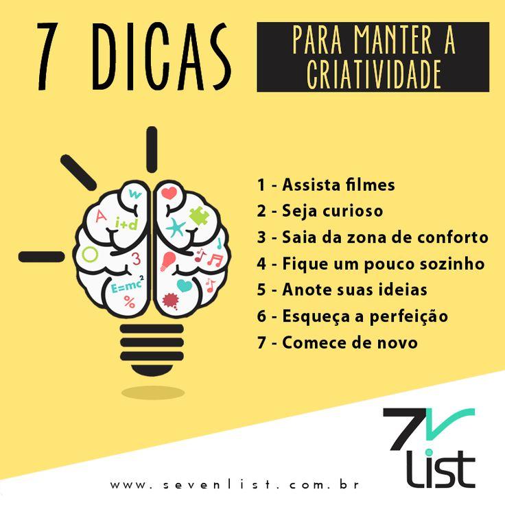 #Lista #List #Sevenlist #Dicas #Criatividade #Imaginação #Mente #Brilhante…