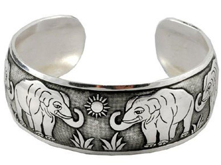 White Metal Elephant Unisex Cuff Bracelet: