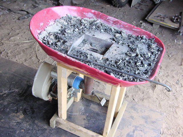 Easy homemade forge from metal wheelbarrow