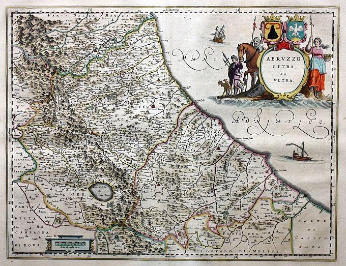 Abruzzo Citra et Ultra (Amsterdam 1664).  Elegante carta geografica dell'Abruzzo tratta dall'Atlas Major pubblicato ad Amsterdam nel 1664. La famosa casa editrice della famiglia Blaeu venne fondata ad Amsterdam nel 1596 da Willem Janzoon Blaeu (1571-1638) che inizialmente produsse globi, carte nautiche e strumenti scientifici ma ben presto si attivò, comprando le lastre del Mercator da Jodocus Hondius, per la realizzazione di un atlante di tutto mondo. Alla sua morte l'azienda proseguì per…