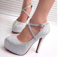 2015 europa moda mujeres bombas impermeables zapatos de tacón fino estilo Mary Janes Rhinestone partido y la boda zapatos Sexy 11 cm talón