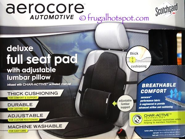 Aerocore Automotive Deluxe Full Seat Pad with Adjustable Lumbar Pillow. #FrugalHotspot #Costco