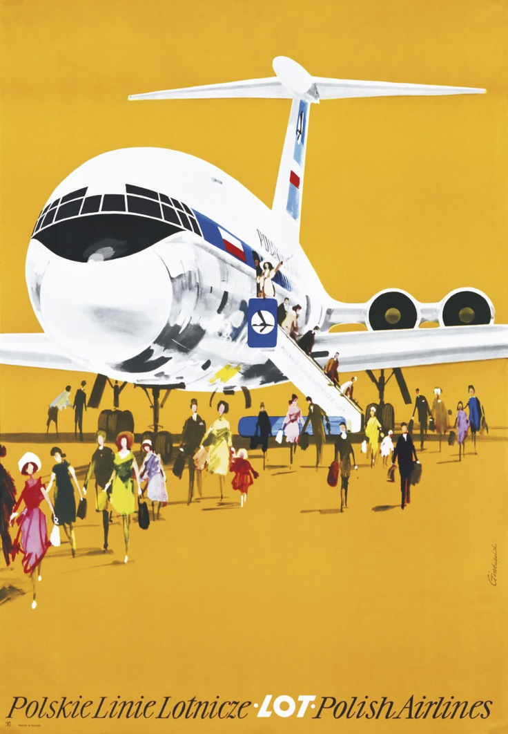 Janusz Grabianski - poster art for Polish Airlines LOT