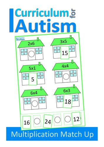Multiplication Match Up Times Tables Task Cards, Autism, Special Education, ABA