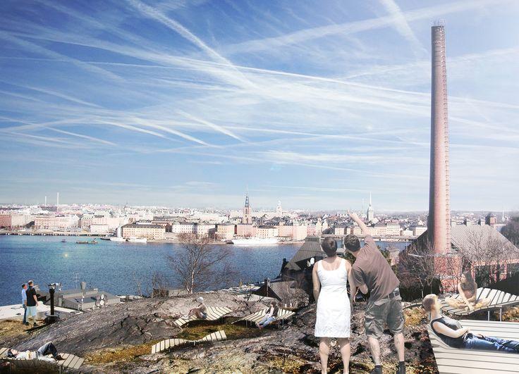 """Sky-schäslonger - himlavalvsmöbler - URBIO - rödgrönblå stadsbyggnadskonst - I våra städer finns stora möjligheter att i parker och platser vid vatten och på höjder skapa fullkontakt med väder och vind, skyar och himlavalv. I idéprojekt """"Sky-schäslonger"""" har en serie platsbildningar föreslagits på Söders höjder som celebrerar kontakten med rymden ovanför. En handfull strategiskt belägna utsiktshyllor ovanför Norr Mälarstrand och Stadsgårdskajen möbleras med grupperingar av egenartade…"""