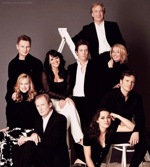 Liam Neeson (Daniel), Laura Linney (Sarah), Billy Nighy (Billy Mack), Martine McCutcheon (Natalie), Hugh Grant (The Prime Minister), Keira Knightley (Juliet), Colin Firth (Jamie), Alan Rickman (Harry) & Emma Thompson (Karen) - Cast of Love Actually directed by Richard Curtis (2003)