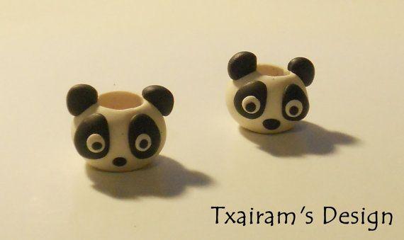 Polymer Clay Dread Bead / Small little panda by txairam on Etsy, $2.50