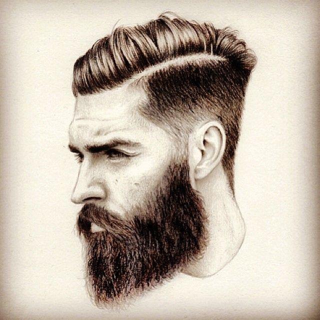 bearded man sketch art artwork drawing arts undercut hair hairstyle hairdo beards beard man men mens' style