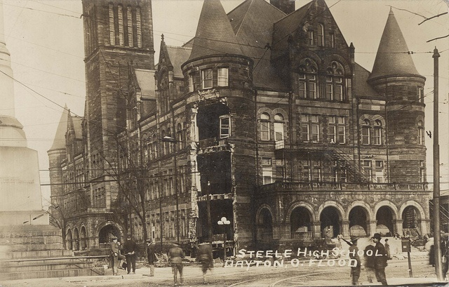 "Steele High School, Dayton, OH - 1913 Flood    		Steele High School. Dayton, O. FloodFrom the back: ""The 'Lion' caused a current which undermined this tower and caused it to fall Tuesday p.m. Since then the whole tower, including roof, has fallen. """