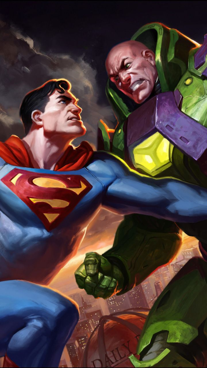 Superman vs lex luther, dc comics, artwork, 720x1280 wallpaper
