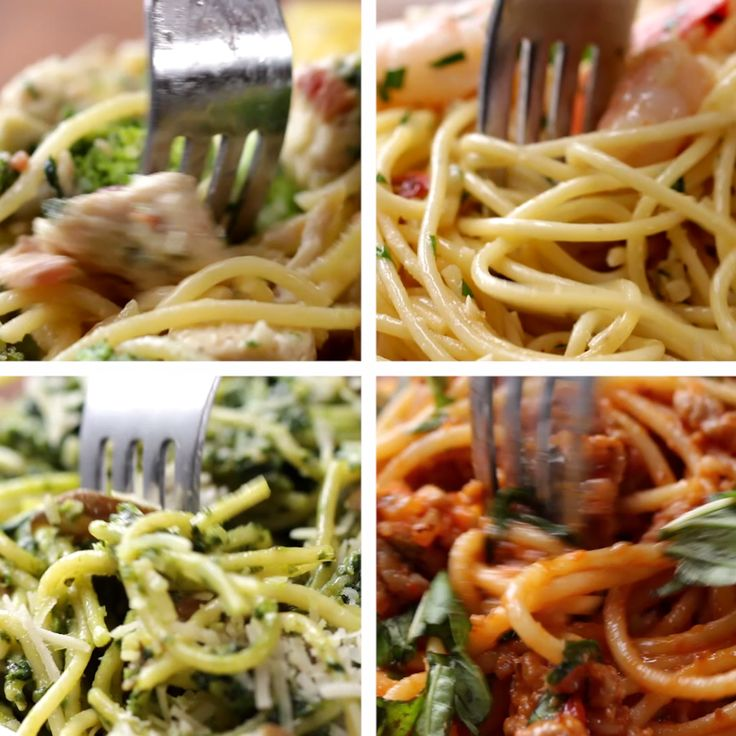 1) chicken fettuccine with broccoli and bacon... 3) mushroom pesto... 4) sausage marinara. Yum!