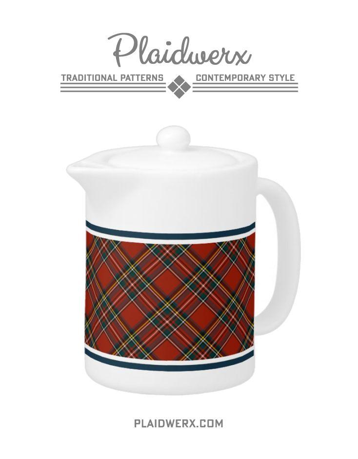 Royal Stewart Tartan Teapot - Porcelain teapot available in two sizes; dishwasher and microwave safe. Matching mugs available. #royalstewart #tartan #plaid #teapot #scottish #plaidwerx