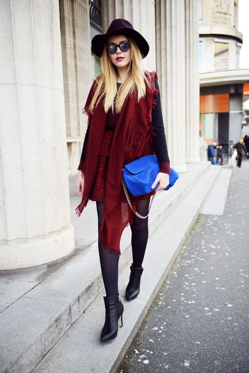 outfit with black hat for colder time