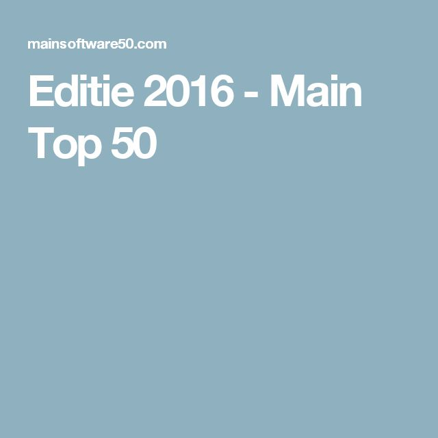 Editie 2016 - Main Top 50