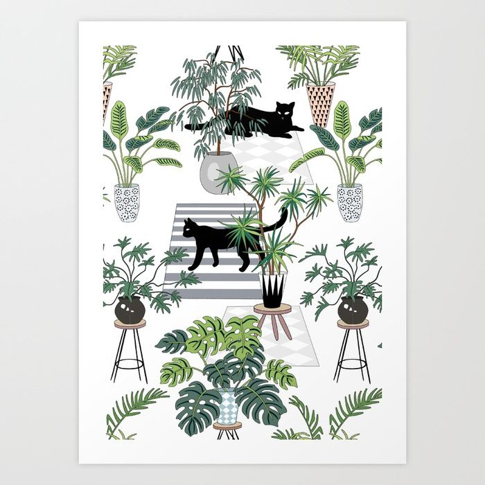 Buy cats in the interior pattern Art Print by anyuka. Worldwide shipping available at Society6.com. Just one of millions of high quality products available.