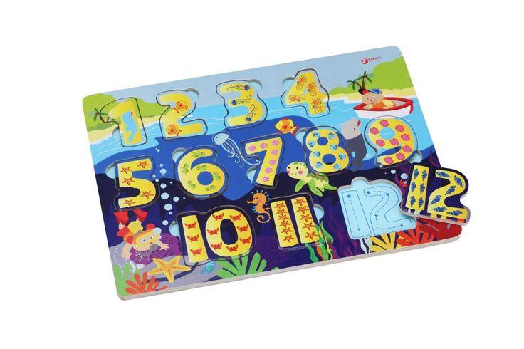 Puzzle cyferki drewniana układanka. drewniane zabawki do kupienia na www.kidsabc.pl