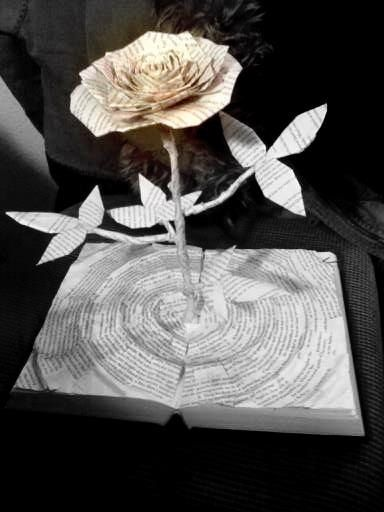 "The Tower Rose--book sculpture built from ""The Dark Tower"" by Stephen King. $450.00, via Etsy."