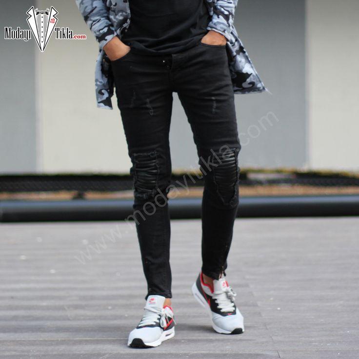 Siyah Dizler Deri Yamalı Jeans