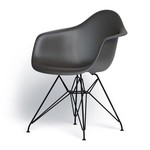 De stoel heeft een kuip van onderhoudsvriendelijk polypropyleen en verkrijgbaar in meerdere kleuren. Het onderstel is van zwart gepoedercoat staal (geschikt voor buiten) en ook verkrijgbaar in glanzend verchroomd. De stoel wordt standaard geleverd met viltglijders voor een harde vloer. In dezelfde serie is ook een stoel zonder armleuning verkrijgbaar, de DSR. Mooi te combineren! Ook de DKR (draadstoel) en de DSW en DAW (met houten onderstel) zijn onderdeel van de serie en sluiten prachtig…