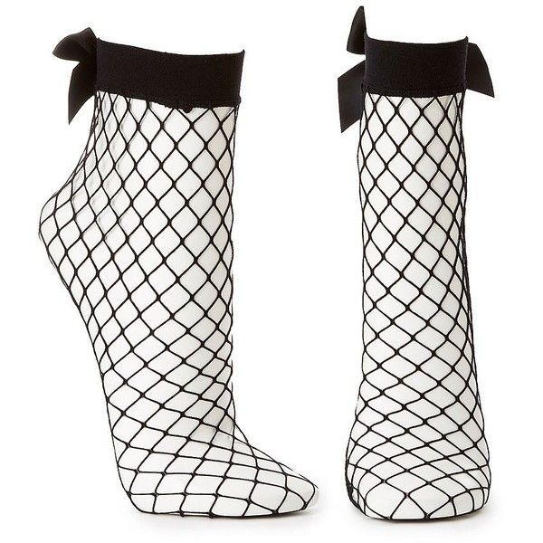 Charlotte Russe Fishnet Bow Ankle Socks (13 BRL) ❤ liked on Polyvore featuring intimates, hosiery, socks, black, charlotte russe, fishnet hosiery, tennis socks, ankle socks and short socks