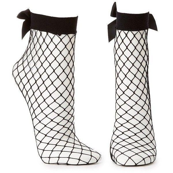 Charlotte Russe Fishnet Bow Ankle Socks ($4.19) ❤ liked on Polyvore featuring intimates, hosiery, socks, black, petite hosiery, tennis socks, ankle socks, charlotte russe and fishnet hosiery