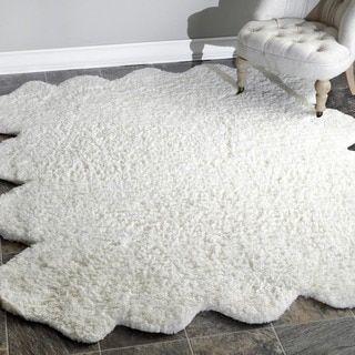 nuLOOM Handmade Faux Sheepskin Octo Pelt Natural Shag Rug (7' x 6') | Overstock.com Shopping - The Best Deals on 5x8 - 6x9 Rugs