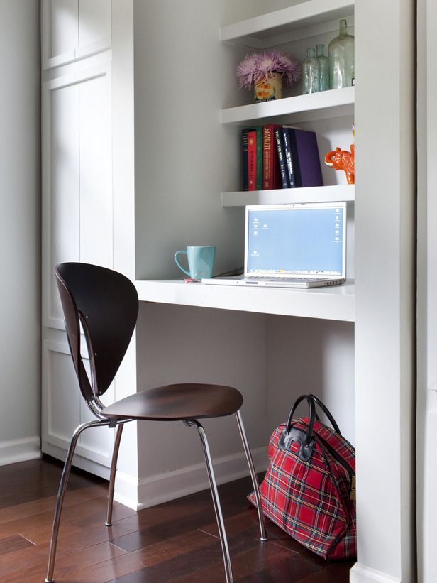 Don't let space go unused. Designer Brian Patrick Flynn turned this nook between two closets into a simple workstation.