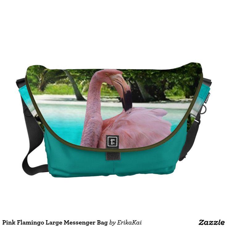 Pink Flamingo Large Rickshaw Messenger Bag. Water resistant, extra durable. Interior and binding 20 color options.