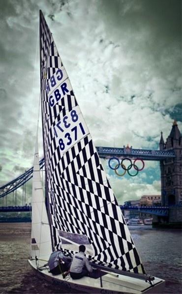 Team GB's Olympic yacht. Ship's sail by Mark Eley and Wakako Kishimoto.
