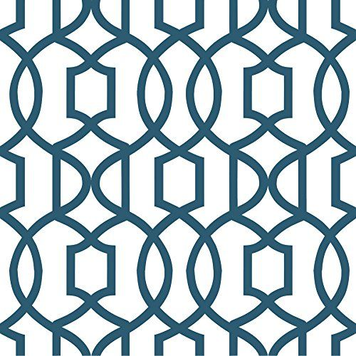 Wall Pops NU1648 Grand Trellis Peel and Stick Wallpaper, Navy