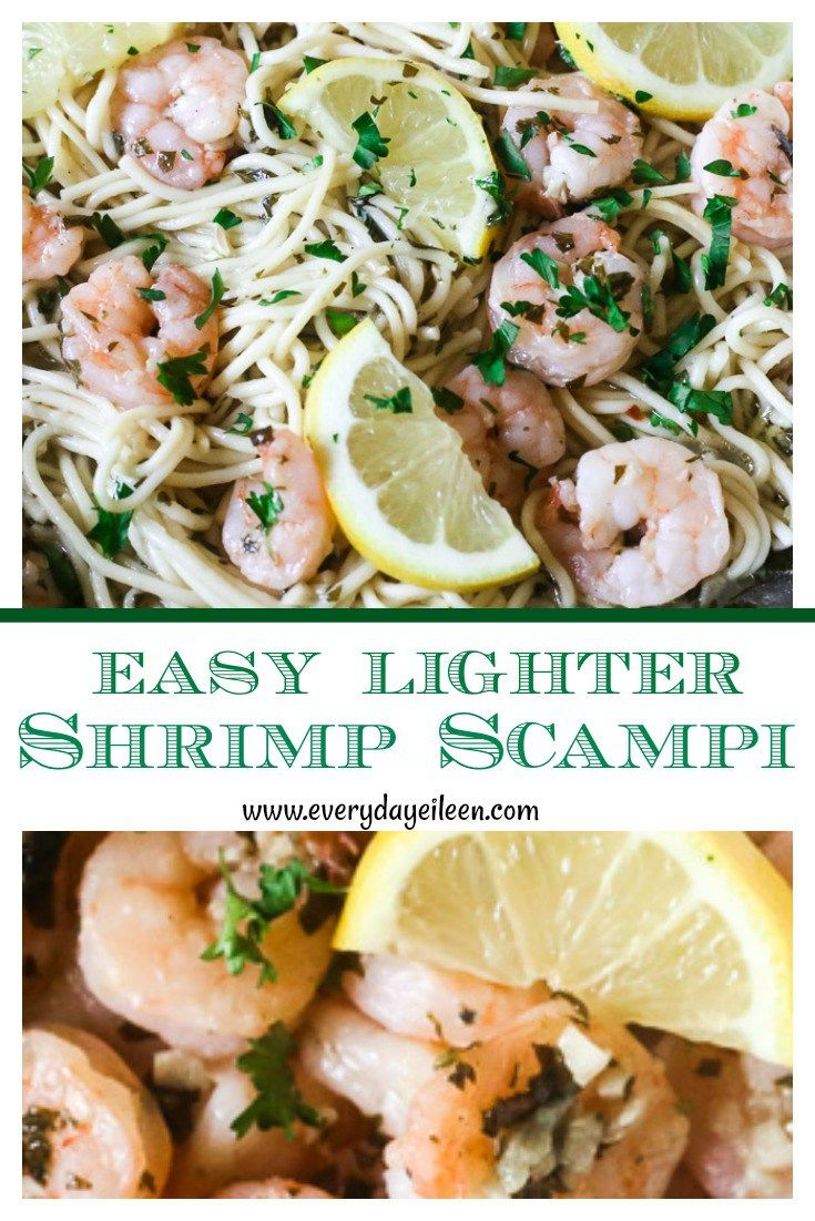 Learn how to make Easy Shrimp Scampi and Spaghetti that is low-fat and ready in about 10 minutes. Fresh garlic, white wine, chicken stock make a great skinny sauce for the shrimp. #lowfat #shrimp #shrimpscampi #garlicshrimp #everydayeileen #shrimppasta #shrimprecipes