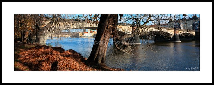 Framed fine art print - Bridge of Legions from Strelecky Island. A Picture from the book Panoramic Pictures of Prague. Photo: Josef Fojtik - www.joseffojtik.com - https://www.facebook.com/Fineartphotoprints