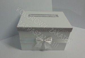 Perłowe białe pudełko na koperty z kokardą