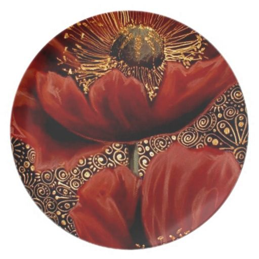 Red Poppies Party Plate