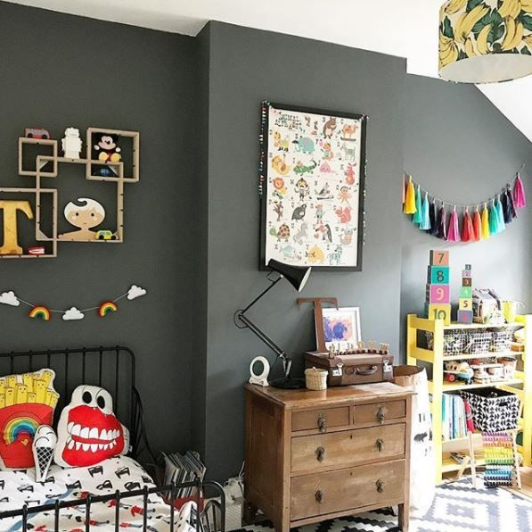 Love how the dark wall makes the bright accessories pop!