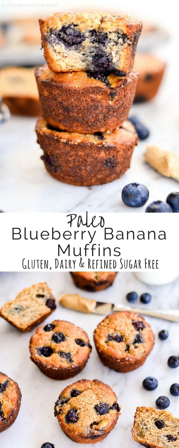 Paleo Blueberry Banana Muffins taste just like a bakery muffin but are healthy! Paleo, gluten-free, dairy-free
