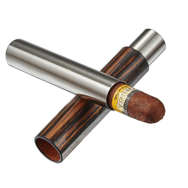Admon Ebony Wood Wrapped Cigar Tube, Silver