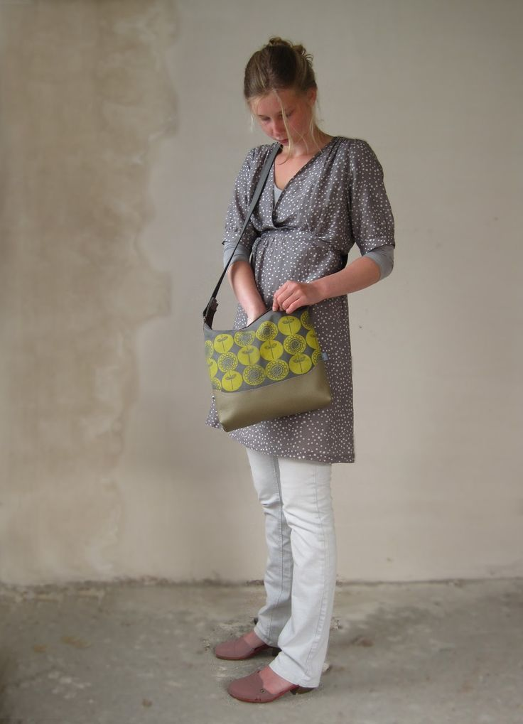 Bag, hand screenprinted, designed, cut and sewn by me, (and the girl's my co-production :) )