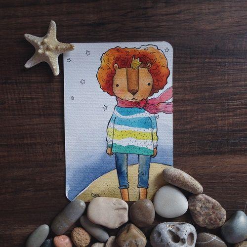 Открытки Акварельные  #painting #art #watercolor #technique  #lion   #живопись #искусство #акварель #техника #Лев