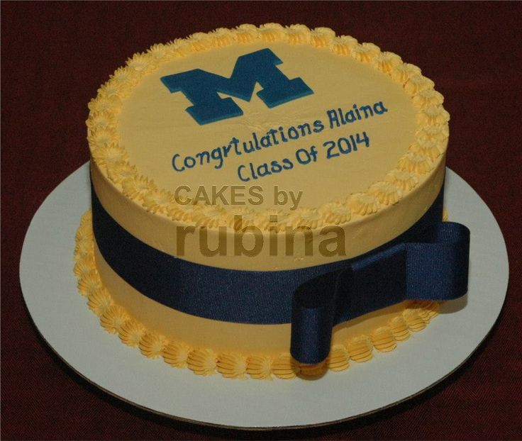 Round Graduation Cake Images : Round graduation cake with buttercream and blue ribbon ...