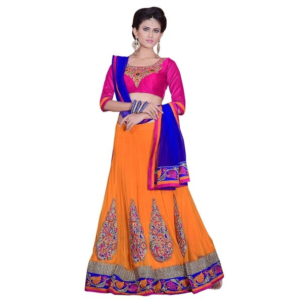 Buy Designer Net Embroidered Orange & Blue Fancy Lehenga Choli Online at cheap prices from Shopkio.com: India`s best online shoping site