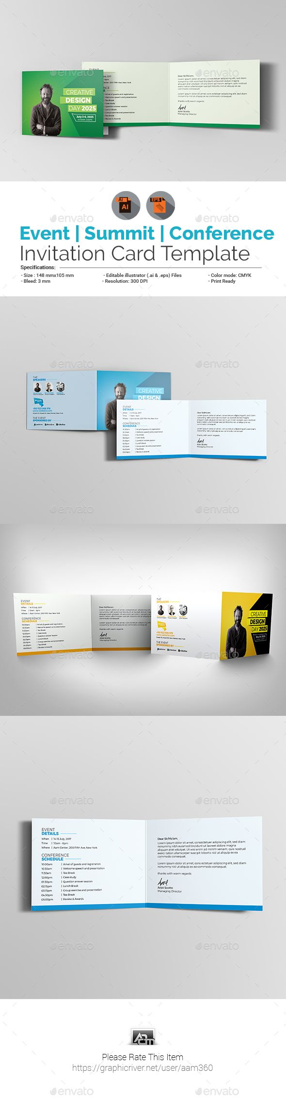 Event / Summit / Conference #Invitation #Card Template - Cards & Invites Print Templates