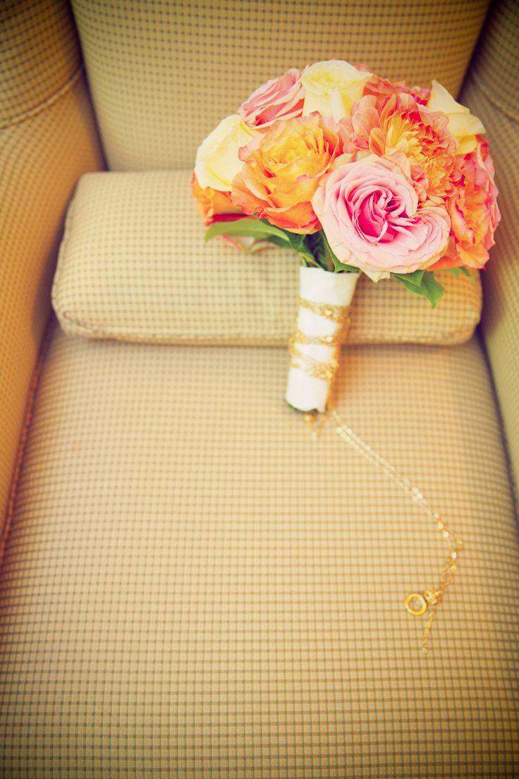 wedding bouquet, flowers, pink, blush yellow