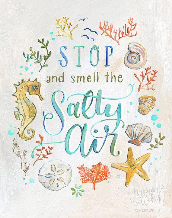 Pare y huela el aire salado lámina océano por Makewells en Etsy